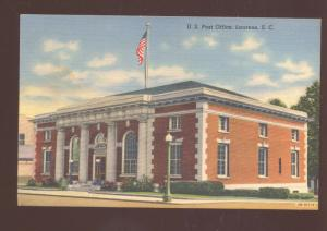 LAURENS SOUTH CAROLINA UNITED STATES POST OFFICE VINTAGE POSTCARD