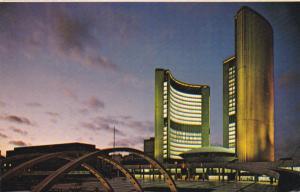 The New City Hall illuminated , TORONTO , Ontario , Canada , 50-60s