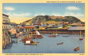 Panama City Panama Glimpse Of Water Front Ships Linen Antique Postcard K15493