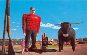 Bemidji Minnesota~Exaggerated Paul Bunyan & Babe~Long Gun~Lady Under Statues~'68