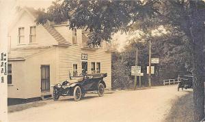 Chocorua NH The Gray Squirrel Gift Shop Tea Room Old Cars Bridge RPPC