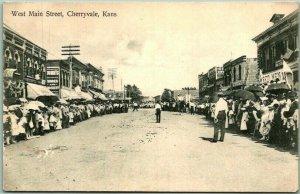 Cherryvale, Kansas Postcard West Main Street Parade Scene c1910s UNUSED