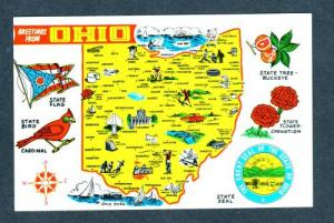 OH Greetings From State Map OHIO  Eaton Ada Delta PC
