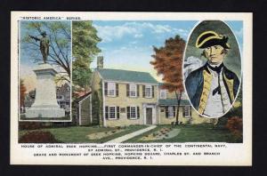 RI Esek Hopkins House, Naval History, Providence, Rhode Island Postcard, Naval