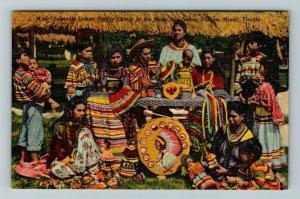 Miami FL-Florida,Seminole Indian Family Musa Isle Indian Village, Linen Postcard