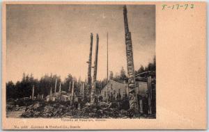 Kasaan, Alaska Postcard Totem Poles Community House Lowman & Hanford  c1910s