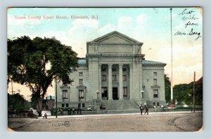 Elizabeth NJ, Union County Court House, Vintage New Jersey c1907 Postcard
