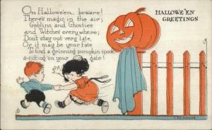 Weaver Halloween - Children Scared by JOL on Fence Post c1910 Postcard gsh