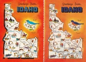 Greetings From Idaho Bluebird 2x Map Postcard s