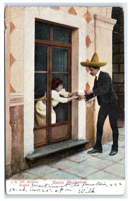 Postcard Novios Mexicanos, Mexico *torn at top * B26