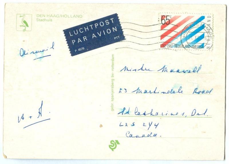 Netherlands, Den Haag, Stadhuis, 1982 used Postcard