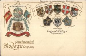 Continental Bodega Co European Shields Crests Gilt Embossed c1905 Postcard