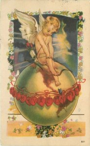 Artist impression Cupid Angel Globe Valentine Postcard 20-1231