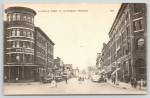 St Johnsbury Vermont~Railroad Street~New Avenue Hotel~Traffic Light~1940s
