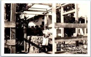San Miguel, California RPPC Photo Postcard WISHING WELL Adobe SLO County c1930s