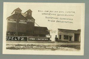 Albert Lea MINNESOTA RPPC c1910 ADVERTISING Coal Grain ELEVATOR COMPANY Speltz