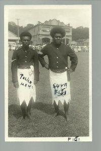 Suva FIJI RPPC '10 POLICE Policemen POSING Warrior Day SPEAR AX DANCE Coronation