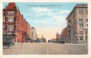 Henderson Kentucky Second Street Looking East Antique Postcard K12401