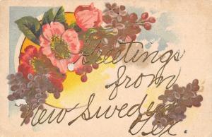 New Sweden Texas~Wild Flower Bouquet~Gold Leaf Greetings~1911 PFB Postcard