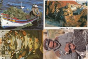 Portugal Net Making Elderly Craft 4x Portuguese Postcard s