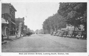 Goshen Indiana~Main & Clinton Streets~Garage Gasoline Pump~Tire Hospital~1920s