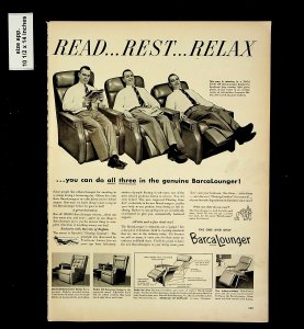 1953 Read Rest Relax Barca Lounger Vintage Print Ad 015735