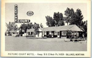 Billings, Montana Postcard PICTURE COURT MOTEL Highway 10 Roadside c1950s Unused