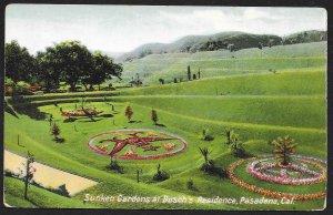 Sunken Gardens Buschs Residence Pasadena California Unused c1910s