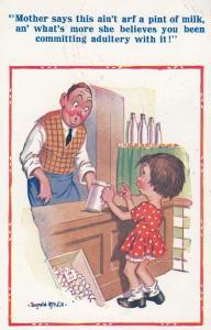 PInt Of Milk Tankard Adultery Comic Humour Postcard