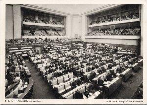 1937 Assembly presided par S.A. L'Aga Khan Geneva Postcard C3