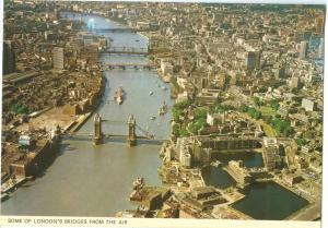 UK, Some of London's Bridges from the air, unused Postcard