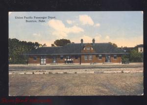 BEATRICE NEBRASKA UNION PACIFIC RAILROAD DEPOT TRAIN STATION VINTAGE POSTCARD
