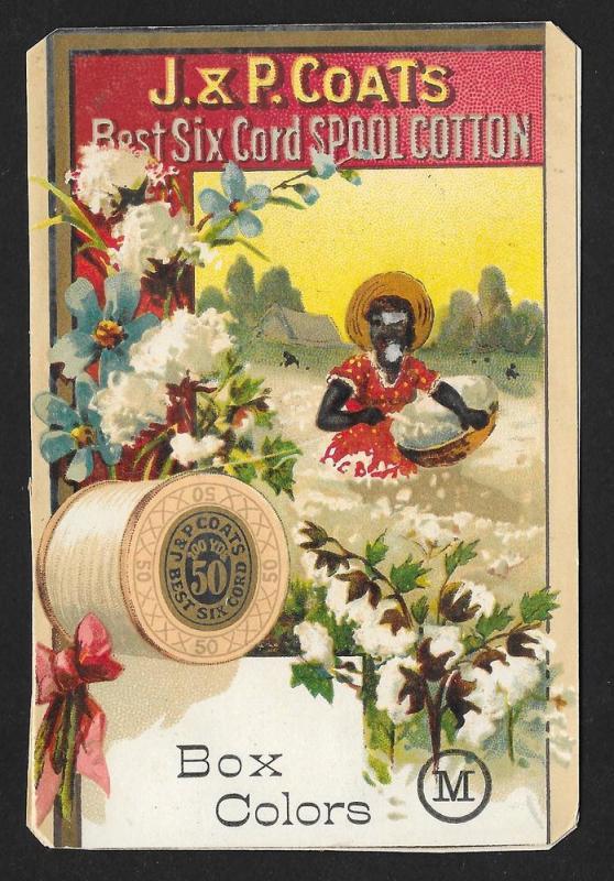 VICTORIAN TRADE CARD Coats Colored Thread Black Woman Cotton