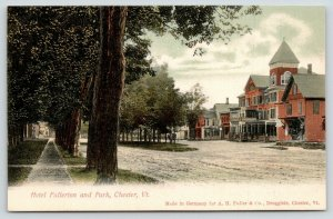Chester Vermont~Old Hotel Fullerton w/Corner Tower~Tall Trees by Sidewalk~c1905