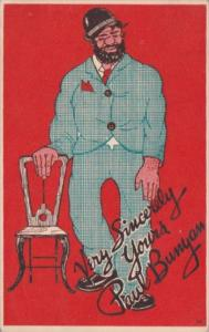 Large Man With Chair Very Sincerely Yours Paul Bunyan 1946