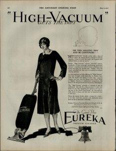1927 Eureka Vacuum Cleaner High Vacuum Gets The Dirt Vintage Print Ad 3889