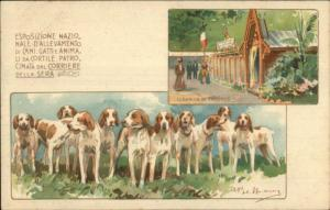 Animal Breeders Exhibition Cats Dogs Italy c1900 A/S Postcard HOUND DOGS