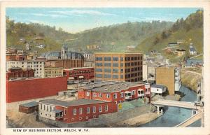 D67/ Welch West Virginia WV Postcard c1910 Business Section Birdseye