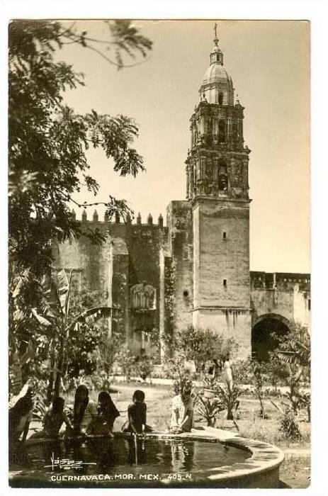 RP; Children laying in fountain in Court Yard of Cathedral, Cuernavaca, Morel...