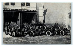 Postcard The Flying Squadron Springfield, Mass Firefighters Co #7 litho Y65