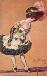 c1906 Art Postcard; A/S Edw. G. Waskow Lady in Dress w Hearts & Big Hat, Fashion