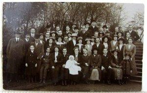 1910s Large Family Gathering Queens Park Toronto Postcard Pork Pie Hats Reunion