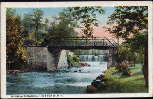 New York OLD FORGE Bridge and State Dam - pm1921 - White Border
