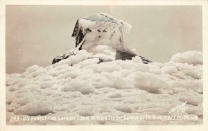 RPPC Forest Fire Lookout Cabin MT. HOOD, OR After Storm Vintage Photo Postcard