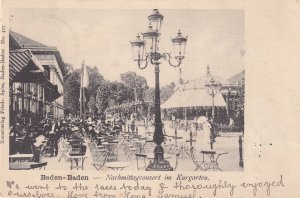 Kurgarten Cafe Baden Germany 1903 Horse Racing Message Postcard