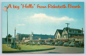 Postcard DE Rehoboth Beach Delaware Greetings Boardwalk View Rehoboth Avenue X5