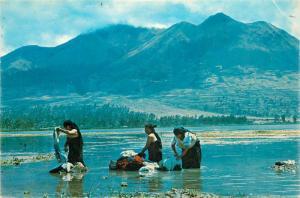 Ecuador Otavalo Indians women washing clothes in the San Pablo lake