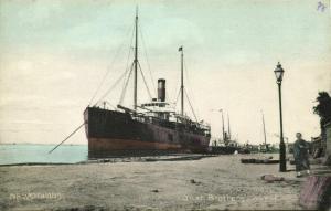 china, NEWCHWANG YINGKOU, Bush Brothers' Wharf with Steamer (1910s) Postcard