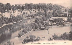 Switzerland Old Vintage Antique Post Card Geneve La Jonction du Rhone et de l...