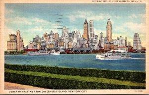 New York City Lower Manhattan Skyline From Governor's Island 1935 Curteich